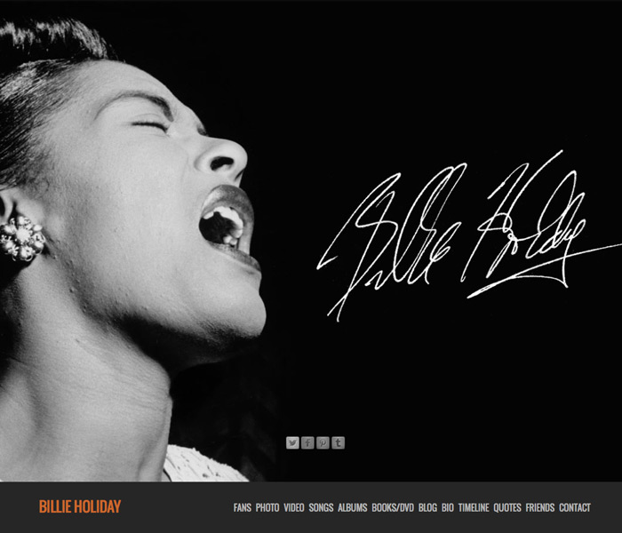 The new Billie Holiday website.