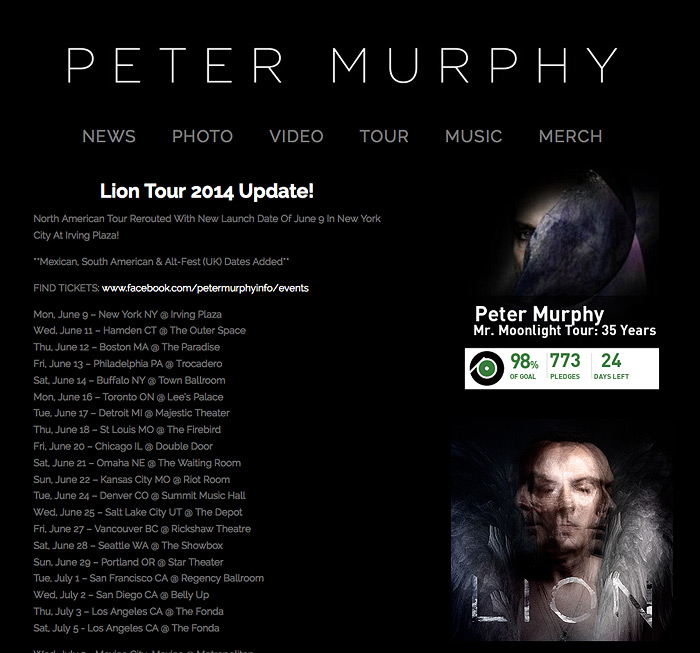 The new Peter Murphy website.